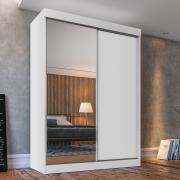 Guarda-roupa Solteiro Fama Branco 1 Porta com Espelhos - Ambientado