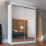 Guarda-roupa Solteiro Fama Branco 2 Portas com Espelhos - Ambientado